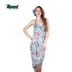 2017 New Women Beach Dress Sexy Sling Beach Wear Dress Sarong Bikini Cover- ups Wrap Pareo Skirts Towel Flower Open-Back SwimwearSwimwear cb449d5bb