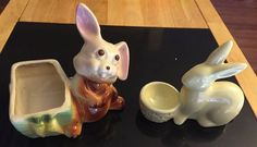 Vintage Easter Bunny Ceramic Planter and Egg Holder Set of 2