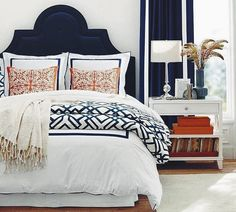 Orange And Blue Crib Bedding Orange And Blue Bedroom Marvelous Navy Blue Headboard Best Ideas About Navy Headboard On Gray Headboard Orange Blue Crib Bedding Bedroom Orange, Bedroom Colors, Bedroom Decor, Bedroom Ideas, Coral Bedroom, White Bedroom, Bedroom Curtains, Navy Curtains, Guest Room Decor