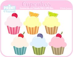 Cupcakes  Instant Download Cliparts by Print4Yourself on Etsy
