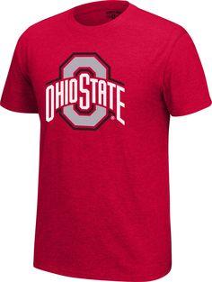 Red Small NCAA Adult Ohio State Buckeyes School Name Over Logo Choice Tee