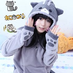 "Style:cute kawaii,cute cat,sweater,hoodie,cute coat,cute japanese,new style Material:cotton blend Color: gray, white Size:M,L,XL,XXL. M size: Shoulder:42cm/16.53"".bust:96cm/37.79"".length:62cm/24.40"".sleeve length:61cm/24.01"" L size: Shoulder:44cm/17.32"".bust:102cm/40.15"".length:65cm/25..."