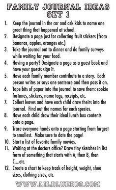 Creating a Family Journal...take it to restaurants, leave in the car, make lists and collaborate. Visit post to see sample pages.