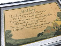 Vintage Mother Poem, Framed Poem by Walter Jones Willson, 1920s