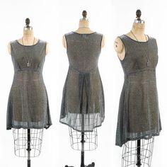 Vintage 80's Dress // Hi Low Hem // Sheer Dress by SwellFarewell, $62.00