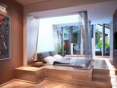 Platform Bed w/ Curtains Modern Master Bedroom, Modern Bedroom Design, Home Room Design, Master Bedroom Design, Minimalist Bedroom, Home Decor Bedroom, Interior Design Living Room, Bedroom Small, Casa Retro