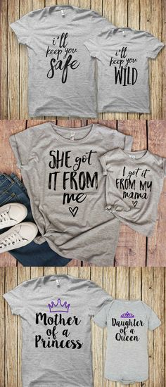 Cute mommy and me tees | I'll keep you safe - I'll keep you wild | She got it from me - I got it from my mama | Mom of a princess - daughter of a queen | fun mother's day gift idea | twinning outfit for mom and kids | #momlife #affiliate