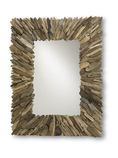 The Beachead Mirror is available in two sizes, the smaller measures 40w x 51h x 3d  and the larger 72w x 42h x 3d.  Both are made of driftwood...a lovely coastal accent for any room.