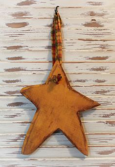 Primitive Hanging Star, Wood, Yellow, Gold by TheSimplifiedHeart on Etsy