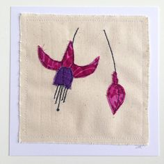 Fuschia flower unframed wall art or greetings card, stitched applique - can be personalised. Birthday, sympathy, mother's day, picture gift.