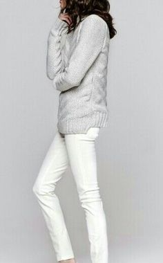 Oooh gray on white - I like. And long, fitted sweater. I like.