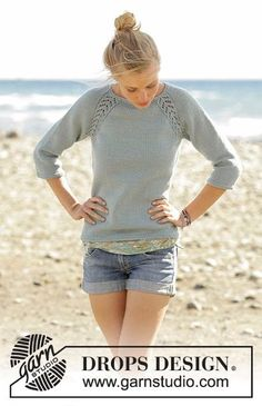 Wind Down jumper with lace raglan worked top down by DROPS Design Free Knitting . Wind Down jumper with lace raglan worked top down by DROPS Design Free Knitting Pattern Jumper Patterns, Sweater Knitting Patterns, Lace Patterns, Knitting Designs, Knitting Projects, Crochet Patterns, Knit Jumper Pattern, Sweaters Knitted, Drops Patterns