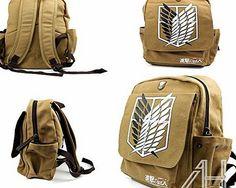AHG Shingeki No Kyojin School Canvas Bag Attack on Titan Cosplay Backpack Rucksack 1. Size: 28*12*41cm(L*W*H) 2.Material:Canvas 3.Color:Khaki 4.Gender:Men 5.Closure Type: Zipper amp