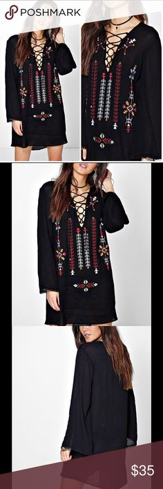 "NWT Boho Black Embroidered Dress Tunic Sz 6 100% Viscose. Flat Measurement of Garment: Shoulder To Hem 33"". Machine Washable. Model Wears Size 6. Slightly see through. Unlined. Dresses Mini"