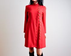 love... red wool military dress coat.