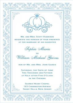 Gorgeous Cinderella Invitation Design - Perfect for a cinderella themed wedding or shower - 3 Designs