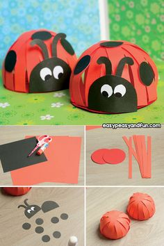 Construction Paper Ladybug Craft - perfect spring craft idea for kids to do. This makes a great classroom project for kids in kindergarten.