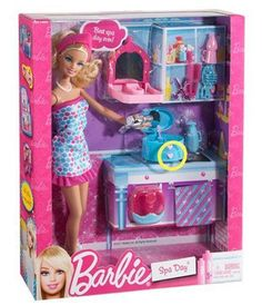 2011 Barbie Spa Day and Doll Gift Set - Nail Polish Make Up Foot Spa Scissors Jewelry Box Hair Dryer Toiletries
