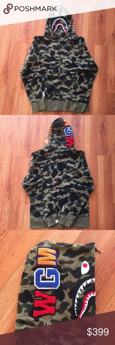 BAPE shark hoodie camo Large authentic. size large, perfect condition. ships out same day Jackets & Coats