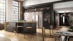 Look indus entre métal et bois pour cette cuisine équipée.