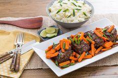 Hoisin & Ponzu-Glazed Steaks with Roasted Carrots & Garlic-Ginger Rice  #BlueApron #ad