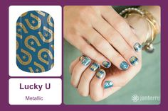 A horseshoe is said to bring good luck and lucky for you they're at your fingertips with this blue and gold 'Lucky U' design! #bevsjamminnails https://bkimball.jamberry.com/us/en/shop/products/lucky-u#.VxfMnvkrJQI