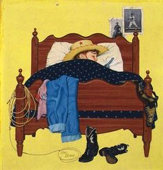 Stan Ekman, Child Cowboy In Bed from the 1920 period I believe. Framed and paid $2.50!