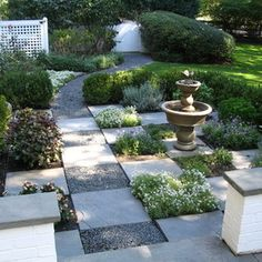 Like the mix of stone and gravel on the path, then little plots of herbs/flowers.. could be done very nicely off the deck.   Traditional Landscape by Schmechtig Landscapes