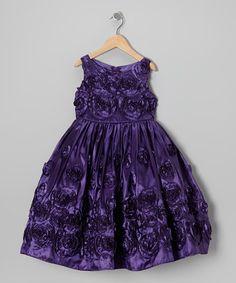 Look at this #zulilyfind! Purple Spiral Rosette Dress - Girls by Chic Baby #zulilyfinds