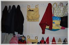 A Sprinkle of This . . . .: #Organize your mud room/laundry room by building a simple peg rail system.