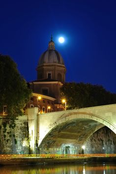Moonlight on the Tiber, Rome, Italy