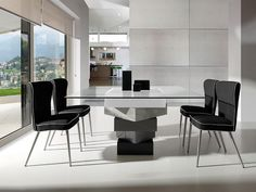 Modern square glass and high gloss cream or grey dining table