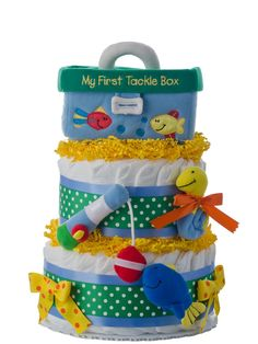 first tackle box 2 tier diaper cake baby shower