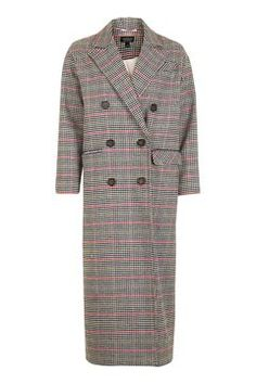 Heritage Check Double Breasted Coat - Topshop: £110