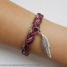 Burgundy SINGLE with leaf charm bracelet charm by bymargaret, $17.50