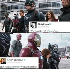 sorry, rdj, ur the funniest of all the avengers, but ima have to go with #teamcap. they have bucky.