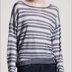 Rag & Bone metallic striped sweater Rag & Bone silver and grey metallic striped sweater. Size medium. Thin shimmery material. Perfect condition, only worn once. rag & bone Sweaters