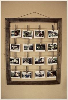 Idea for how I can display photos in my unit. Great that you can interchange the photos and display in an unusual way