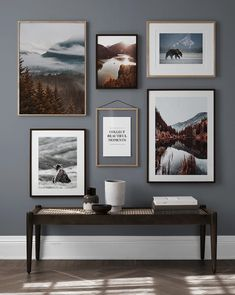 Nature designs and bear posters in blue living room Gallery Wall Bedroom, Gallery Wall Layout, Gallery Wall Frames, Frames On Wall, Bedroom Wall, Gallery Walls, Gallery Wall Living Room Couch, Wall Tv, Living Room Pictures