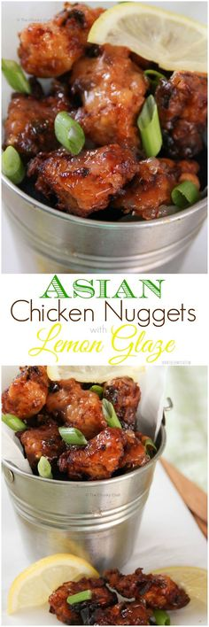 Asian-style Chicken Nuggets - Marinated with great Asian flavors, fried until golden brown, and then drizzled with a lemon glaze… these are a delicious twist on traditional nuggets. #AsianFoodRecipes