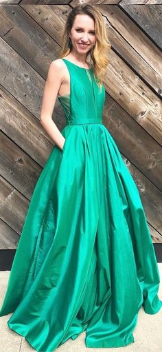elegant green long prom dress with pockets, 2k18 prom dress party dress, ball gown P3020