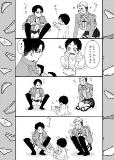 Erwin, Levi and baby Eren // Aot