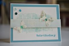 Birthday card using: SSS Butterfly Drift Die, Wendy Vecchi embossing paste mixed with Peacock Feathers Distress Ink over Tim Holtz Dot Fade stencil, some SSS sequins and sentiments from an old happy birthday stamp set. I also used some old card stock (the light blue) and the Boho Chic pattern paper from First Edition Paper.