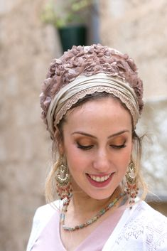 🌸🌼This stunning collection is reminiscent of a more romantic time. Soft colors frame your face beautifully and allow your personal features to shine forth. Just tie it on and let the compliments flow in. #headscarf #tichel #Headwrap #Turban #summerstyle #beautiful #beauty #fashion #style #love #jew #jewish #judaic #judaica #judaism #hebrew #headscarve #religion #religious #israel #israeli #pashmina #tichels #mitpachat #headcovering #modesty #beautiful # hairloss #chemo # Pink Beige, Blush Pink, No Slip Headbands, How To Wear Scarves, Daily Wear, Head Wraps, World Of Fashion, Creations, Blue And White