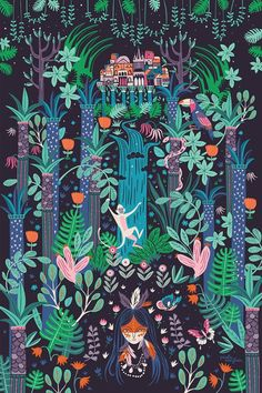 City of the Forest by Paula McGloin  Illustration inspired by the enchanting Brazilian city of Manaus, only reachable by plane or boat, Manaus is located deep in the heart of the Amazon rainforest. Created as part of an exhibition with The Blind Elephant Illustration Collective.