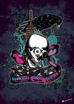 """""""Crow"""" Affiche originale, créée à partir d'une dessin Noir et Blanc retravaillé sur ordinateur. Entre art illustratif et peinture numérique, cette affiche aux allures de tatouage est disponible en format A3 où sur commande en format: 40*60 cm à 16€ et 80*120 cm à 40 euros."""