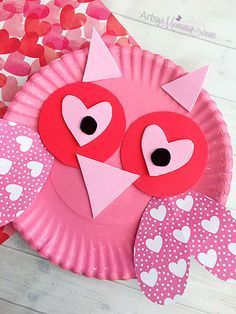 colorful paper plate owl bouquet of hearts card for s day day 3677