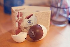 fazer mignon, hazelnut nougat chocolate covered with real eggshell. Easter Traditions, Eggshell, Helsinki, Chocolate Covered, Traditional, Tableware, Chocolate Frosting, Dinnerware, Egg Shell