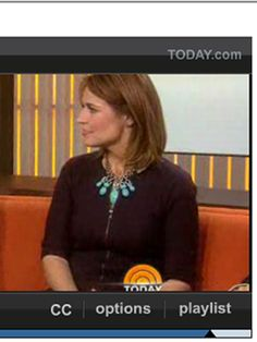 Savannah Guthrie wearing our turquoise statement necklace