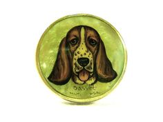Hand Painted Cameo Ring Basset Hound Dog by SylCameoJewelsStore, $22.00 ~ Hand Painted Cameo Ring Basset Hound Dog Image Painted on Mother Of Pearl Gem Sterling Silver Miniature Art Collectible Jewelry Accessory